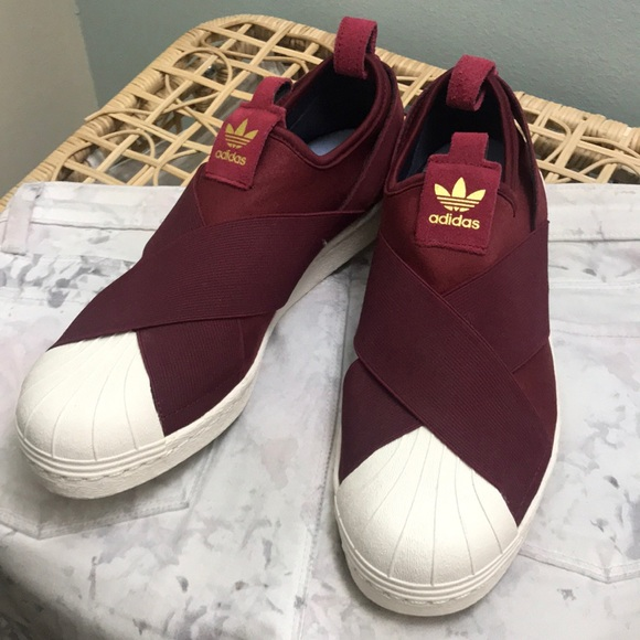 newest b0988 f92b2 Adidas Slip On Shoes Size US 7.5 In Burgundy